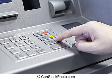 human, mão, Tocar, ATM, máquina