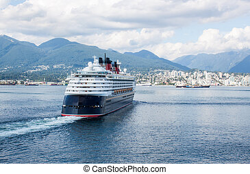 Cruise ship in Vancouver Canada - a large cruise ship...