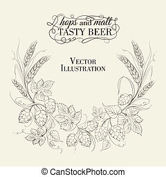 Hop garland on a white background Vector illustration