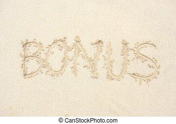 The word bonus on the beach