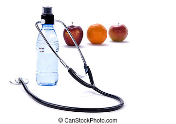 Healthy Eating - A clean fresh bottle of water and fruit....