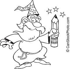 Cartoon Wizard with a Pencil (Black