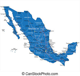 Mexico map - Highly detailed map of Mexico with main cities...