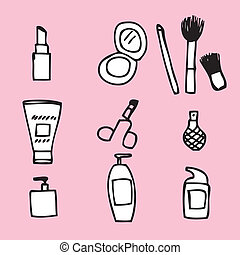 Cosmetics Icon - Illustration of cute hand drawn cosmetics...