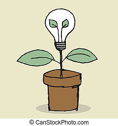 Lightbulb Plant - Illustration of hand drawn lightbulb plant...