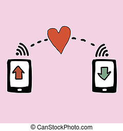 Smart phone sending heart - Illustraton of hand drawn smart...