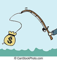 Fishing Money - Illustration of cartoon businessman fishing...