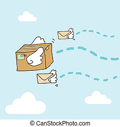 Flying Parcels - Illustration of hand drawn flying box and...