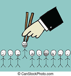Picking the candidate - Illustration of human resource...