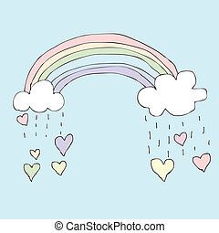 Rainy Rainbow Heart - Illustration of hand drawn rainbow...