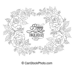 Silhouette of rose with sample text. Vector illustration.