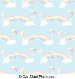 Rainbow Background - Illustration of hand drawn seamless...