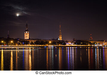 Old Riga in the night.  - Old Riga in the night.
