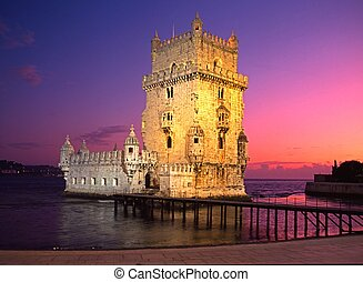 Belem tower at sunset, Lisbon. - Tower of Belem at sunset,...