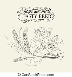 Wheat and hop on sepia. Vector illustration.