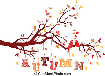 autumn tree branch, vector - birds on autumn tree branch...