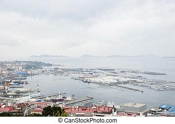 Port of Vigo, Galicia - Port of Vigo on rainy day, Galicia,...