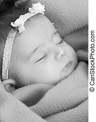 Family - A beautiful infant sound asleep. family, love,...