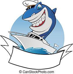 tubarão, Montando, bote, marinheiro