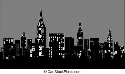 City at night with word city.