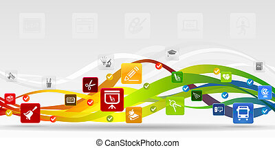 Back to school - Education mobile applications vector...