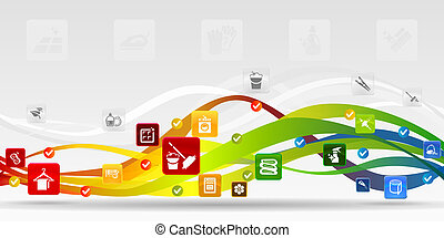 Cleaning mobile applications vector abstract background