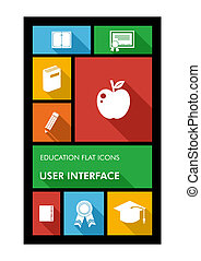 Colorful back to school user interface mobile app flat icons.