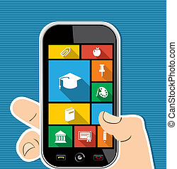Colorful human hand mobile apps education flat icons. - Back...