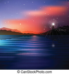 abstract sea background with lighthouse and mountains
