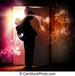 Young businessman opening door - Image of young businessman...