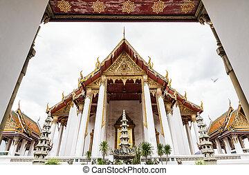 Wat Suthat - Front View of Wat Suthat Thepphawararam Bangkok...