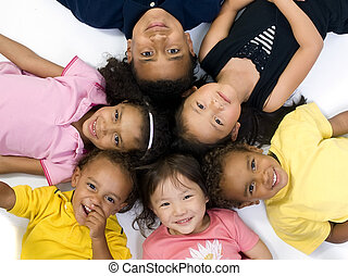 Childhood Kids - A group of children of various ethnic...