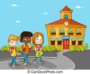 Education back to school cartoon kids.