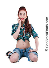 Pretty cowgirl - Pretty young woman model with long legs,...