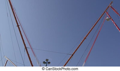 jumping on bungee trampoline - Amusement attraction at...