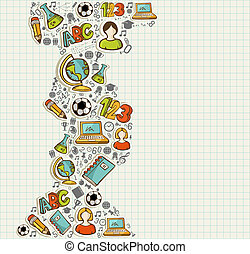 escuela, educación, espalda, iconos, caricatura