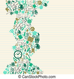 Education back to school green icons.