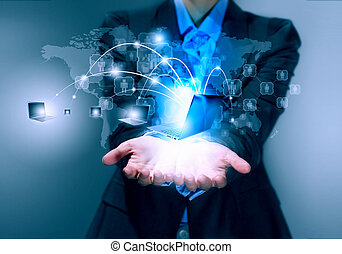 Technology concept - Close up image of businesswoman with 3d...