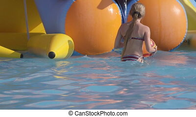 Inflatable Water Slide with Pool - Kids playing in...