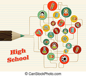 Back to school icons education pencil.