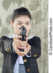 FBI woman agent. - FBI woman agent in action.