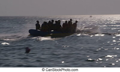 People on the banana boat