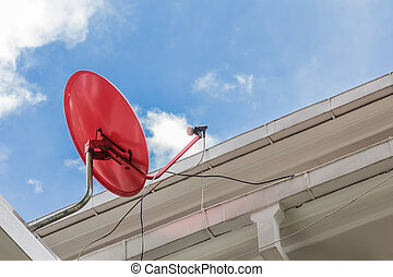 home satellite Dish - Red satellite dish home