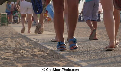 People going to the summer beach