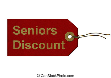 Seniors Discount Tag - Red Gift Tag with words Seniors...