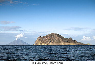 View from sailing boat, Stromboli at the left Aeolian...