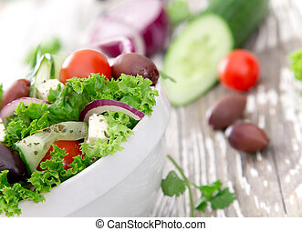 fresh salad - Fresh salad on wooden background