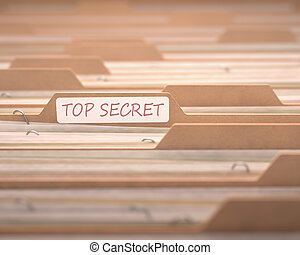 Top Secret - Top secret files with the focus on the folder...