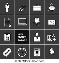 vetorial, escritório, papelaria, Docume