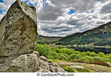 Bruces stone above Loch Trool - Bruces Stone, a monolith...